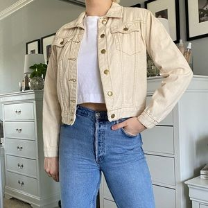 Cream Cropped Denim Jacket